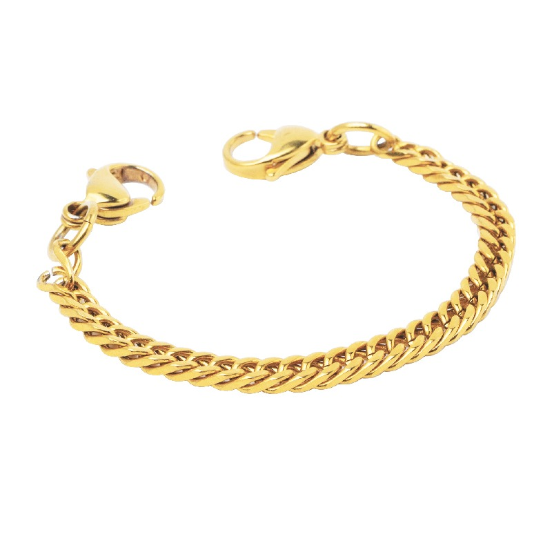 Bracelet Chain - Thin Curb Gold-Plated Stainless Steel