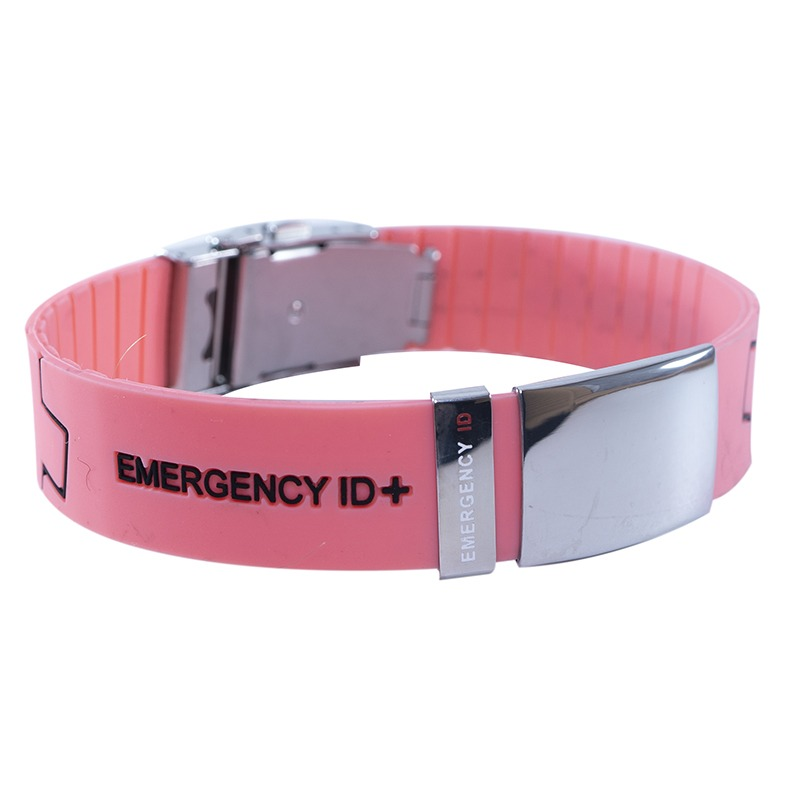 Emergency ID silicone ID wristband coral engraved