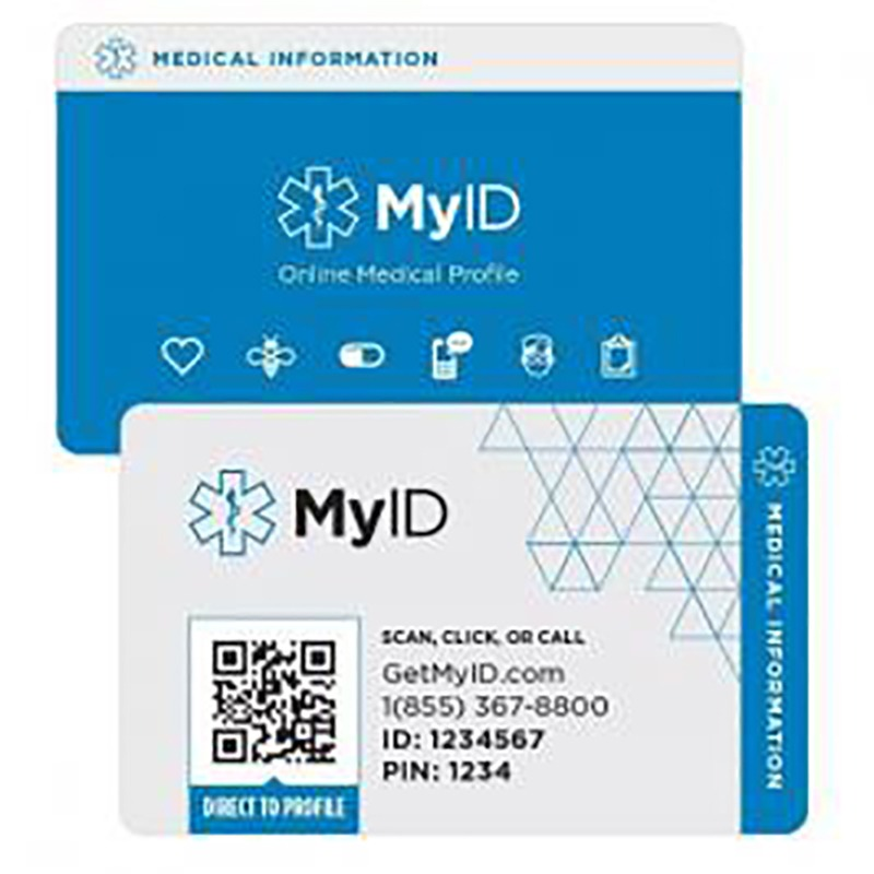 Emergency ID MyID medical alert card