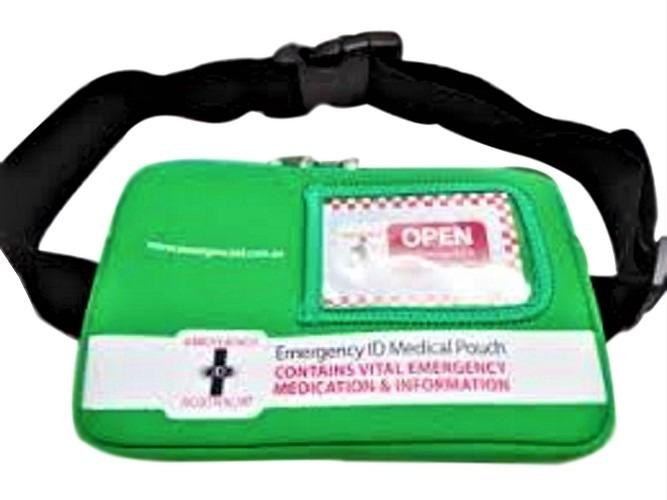 Emergency ID medical alert medication bag green with belt