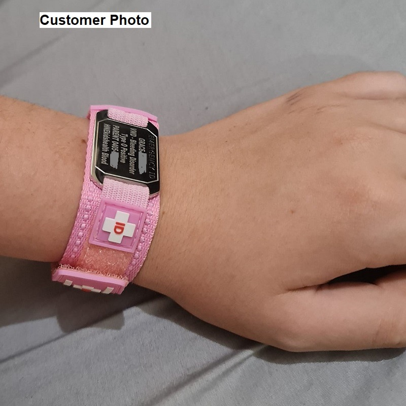Pink Emergency ID medical alert wristband for child