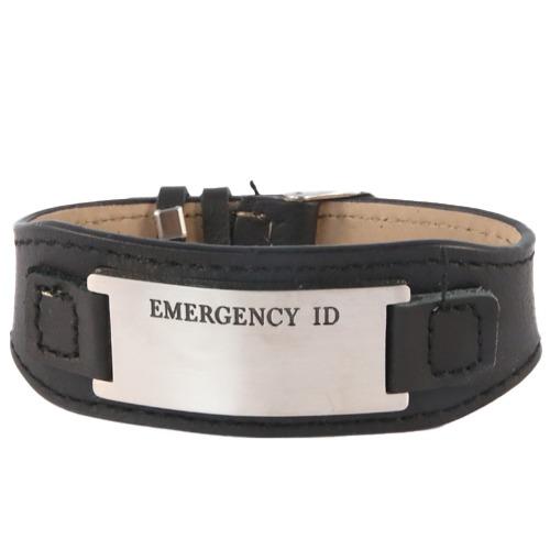 Emergency ID medical alert leather wristband