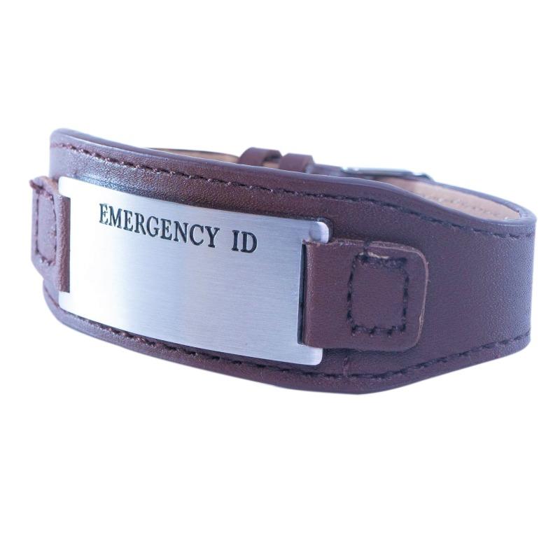 Emergency ID medical alert bracelet leather