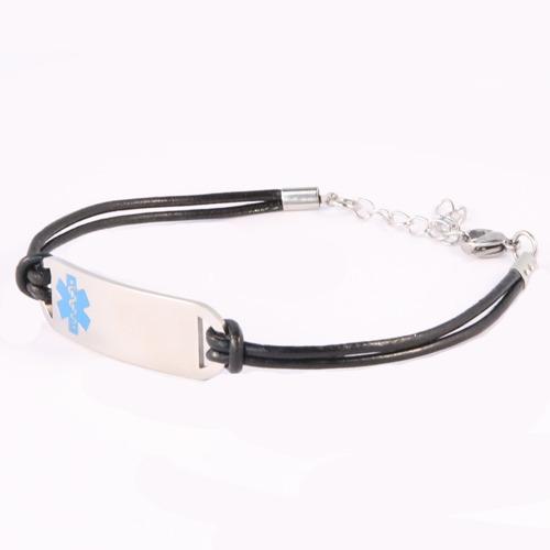 Emergency ID medical alert leather strand wristband
