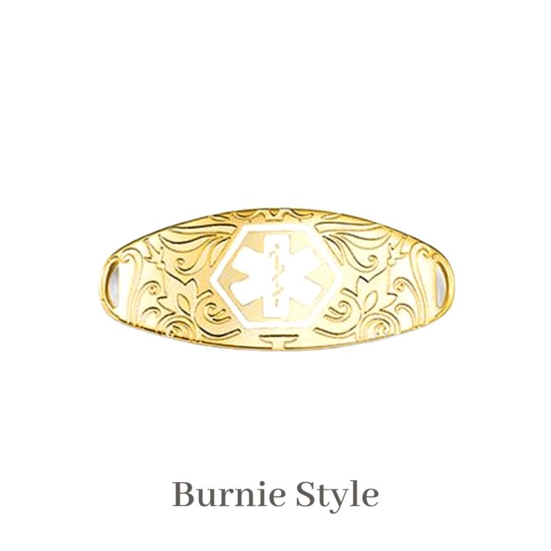 Burnie Style Medallion Gold & White Emergency ID medical alert