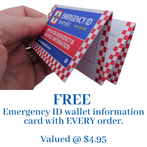 Emergency ID wallet card fill in your medical and emergency information FREE with every order