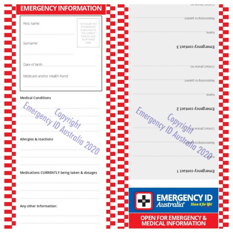 Emergency ID wallet emergency information card
