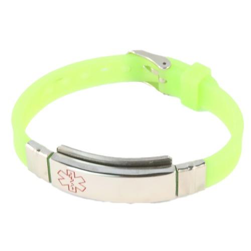 Emergency ID medical alert wristband lime