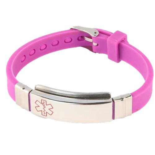 Purple Emergency ID medical alert wristband