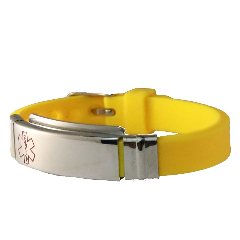Medical ID bracelet yellow slim silicone