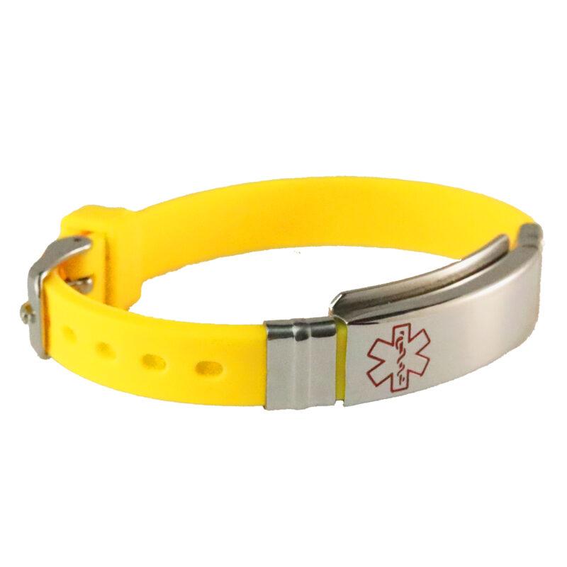Medical ID bracelet yellow slim silicone