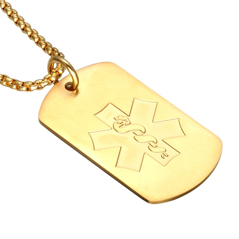 Gold plated xl medical alert necklace pendant