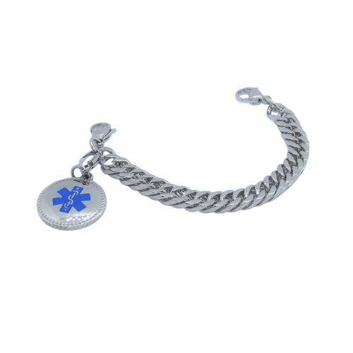 Round Blue Bracelet Charm for medical alert bracelets