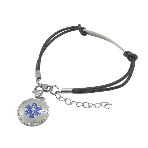 Round Blue Bracelet Charm on leather medical alert bracelet