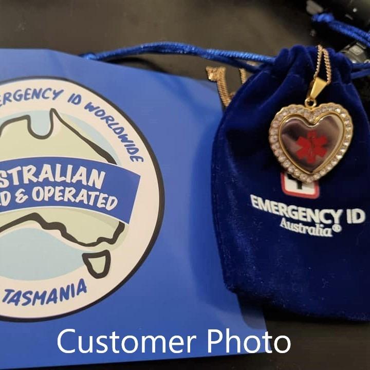 Customer Photo of Emergency ID medical alert necklace