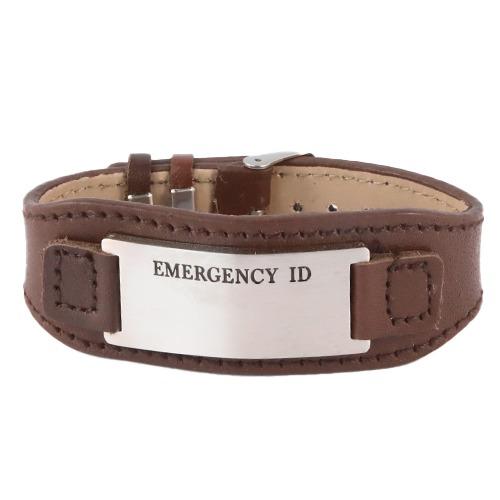 Leather medical alert id wristband