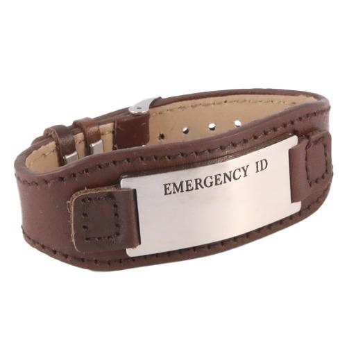 Medical alert Id leather wristband