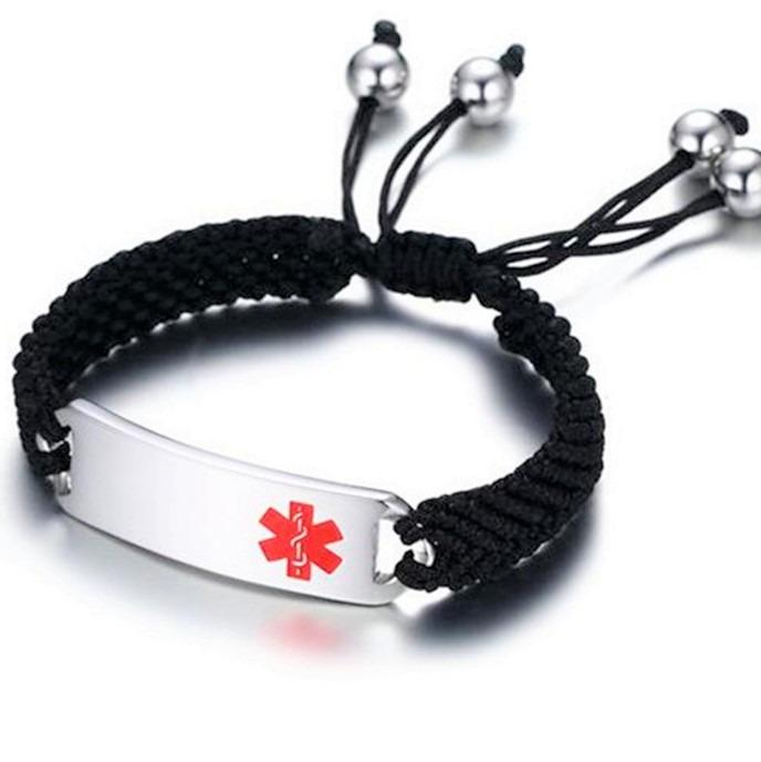 Medical ID black woven bracelet