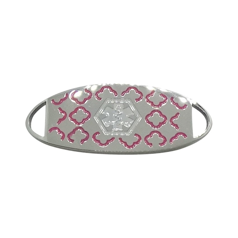 Bracelet Medallion #3 - Stainless Steel with Pink