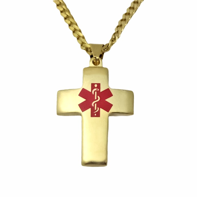 Religious cross medical id necklace