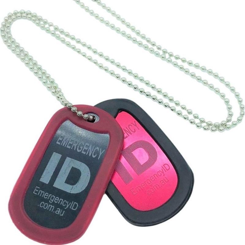 Emergency ID medical alert necklace dog tag style