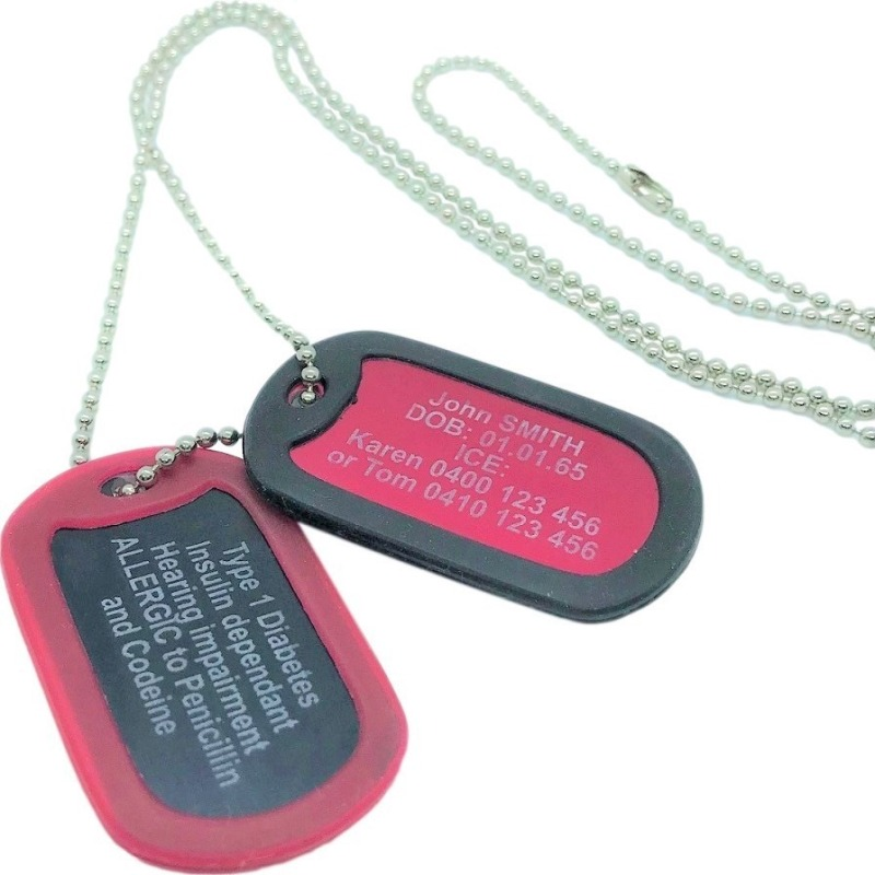 Double Dog Tag medical alert necklace