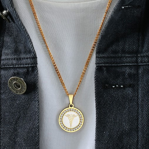 Emergency medical alert ID necklace two tone bling