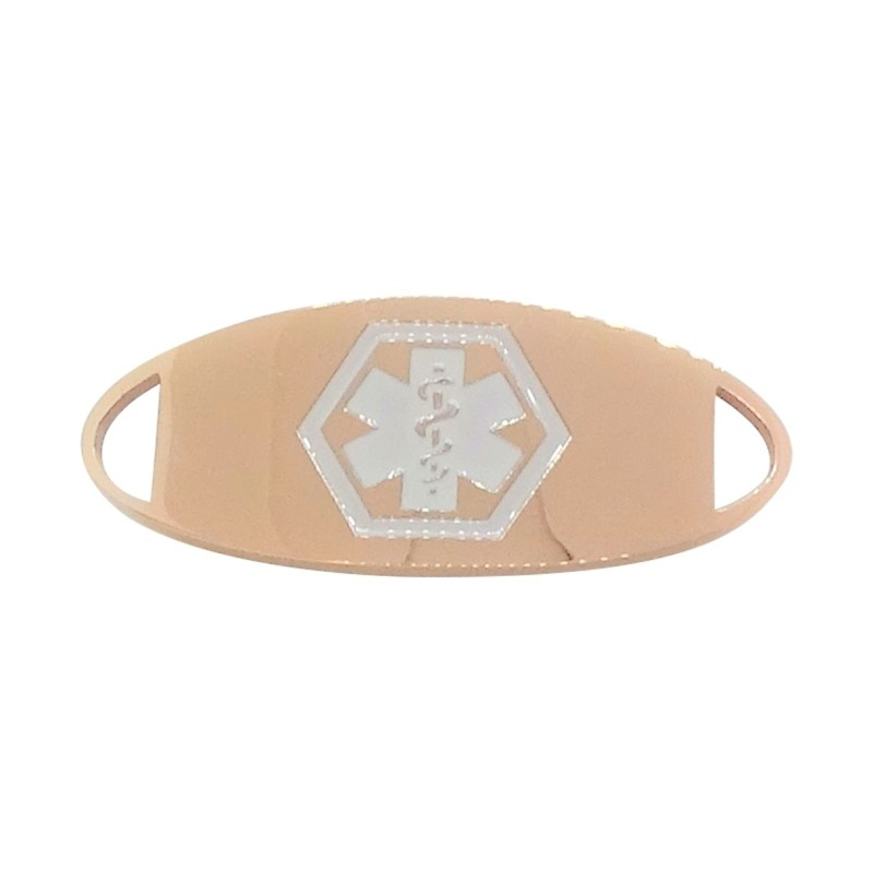 Rose gold medical alert ID bracelet medallion