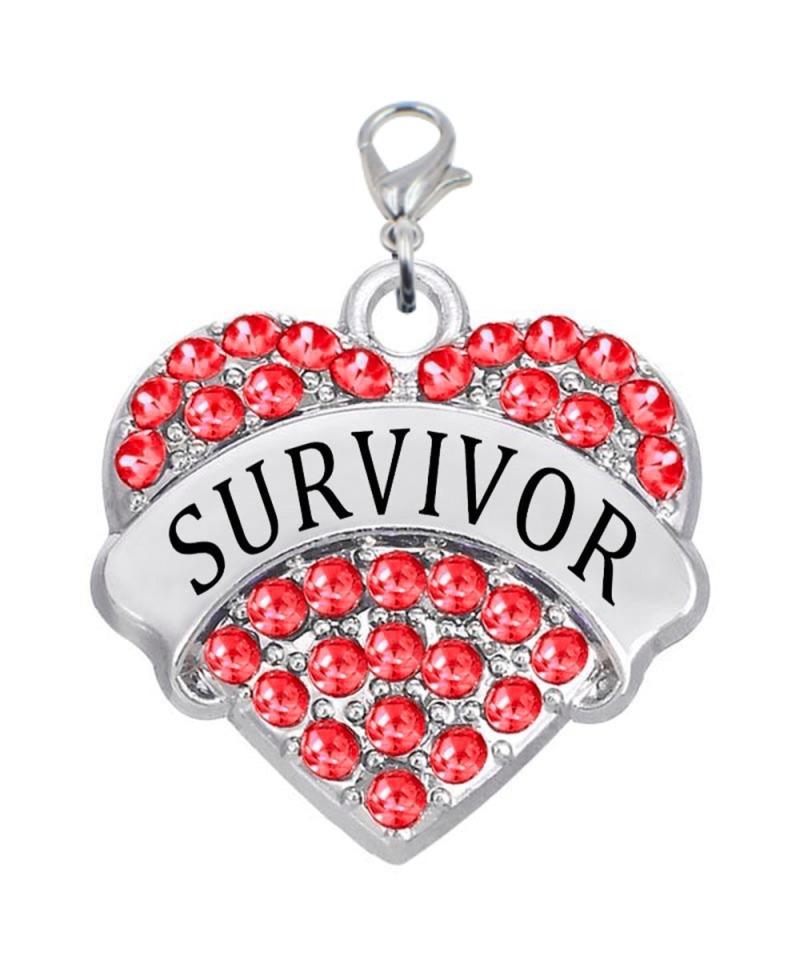 Red bling survivor heart charm