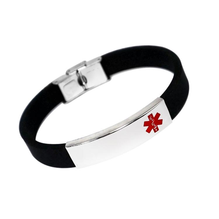 Emergency ID black rubber ID medical alert wristsband