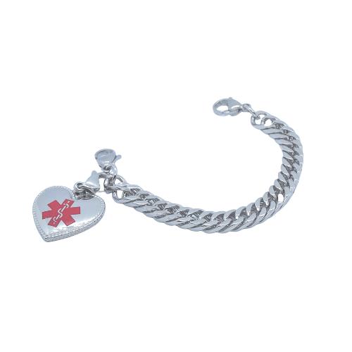 Heart Shaped Charm for Emergency ID medical alert bracelets