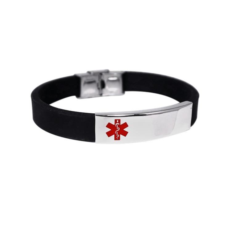 Emergency ID black rubber ID medical alert wristband
