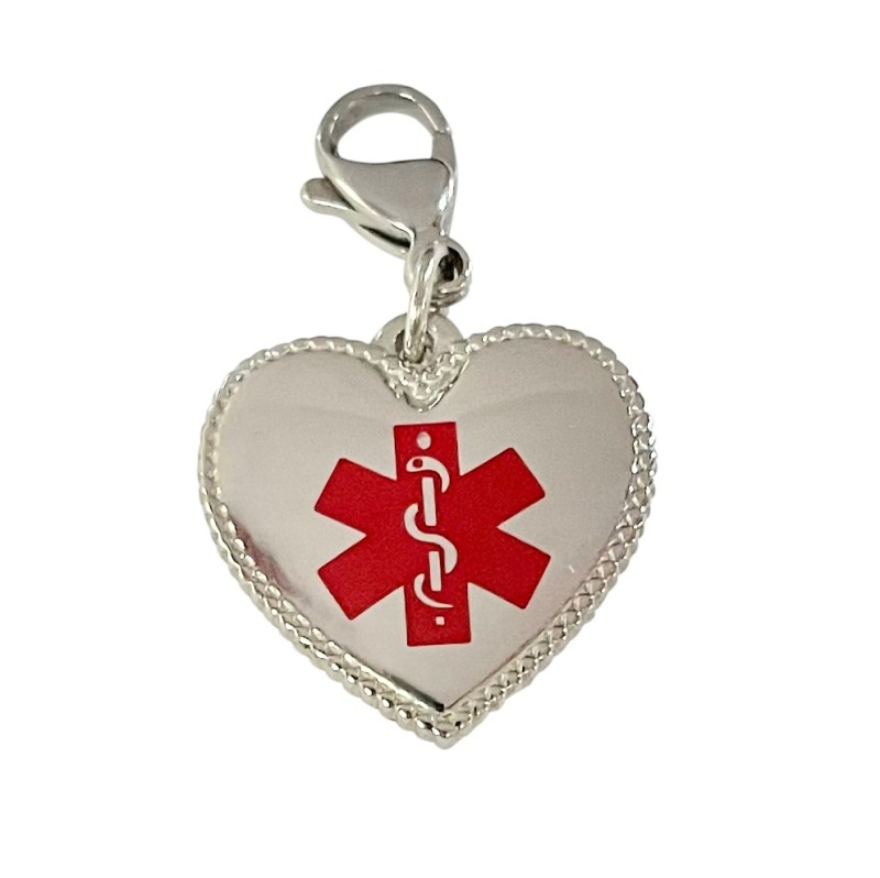Emergency ID medical bracelet heart charm