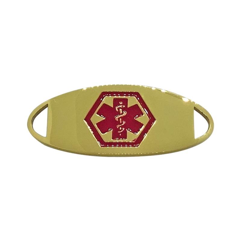 Gold and red medical alert bracelet medallion by emergency id australia