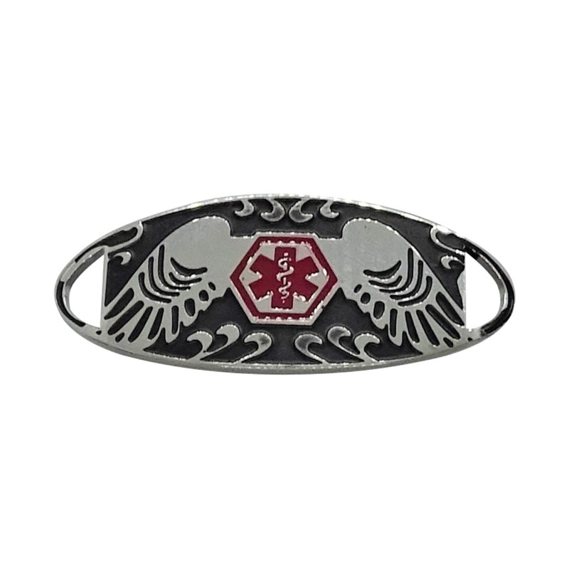 Bracelet Medallion #13 - Stainless Steel with Black & Red