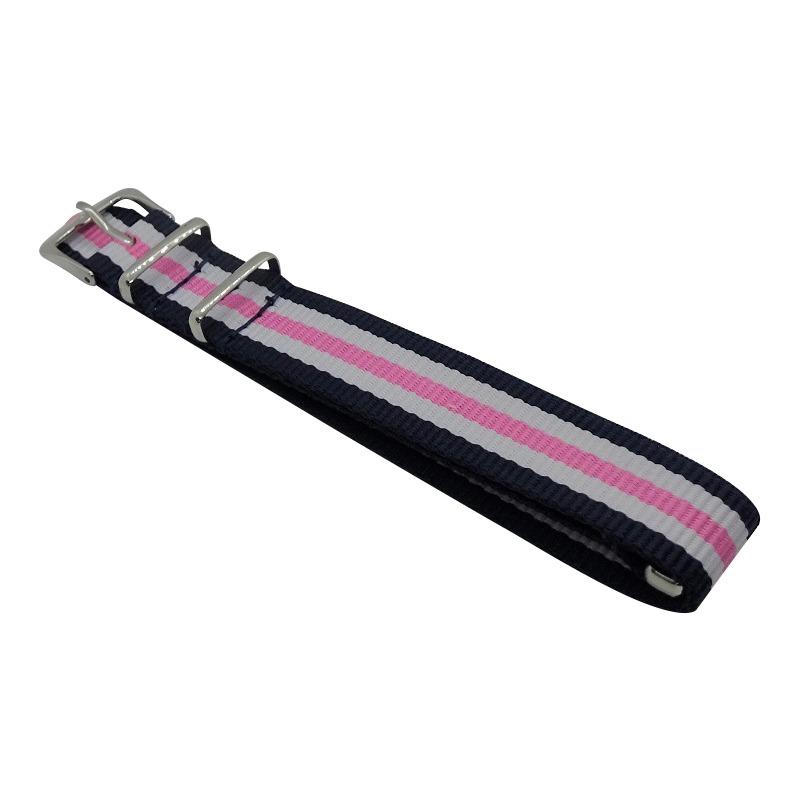 Nylon Watchband Style 2 - Navy, White & Pink
