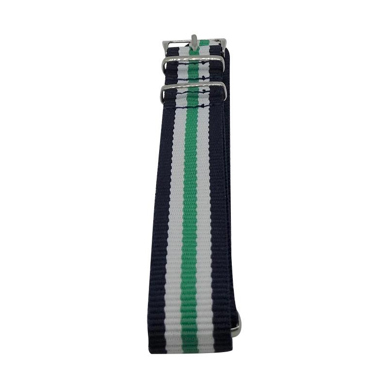 Nylon Watchband Style 6 - Navy, White & Green