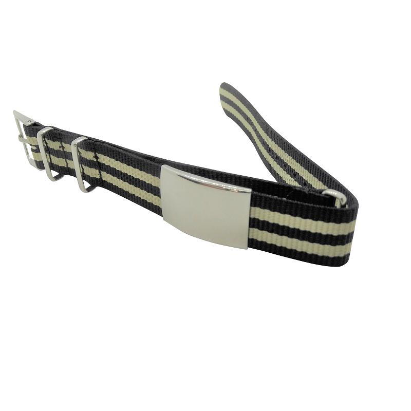 Nylon Watchband Style 8 -Black & Beige