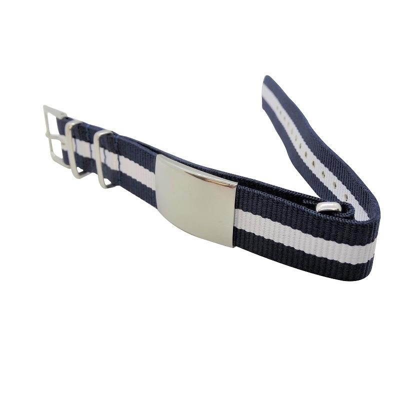 Nylon Watchband Style #11 - Navy & White