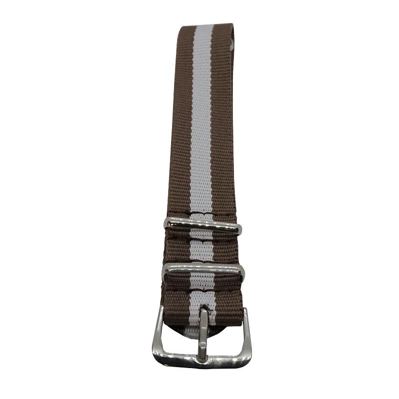Nylon Watchband Style #16- Brown & White