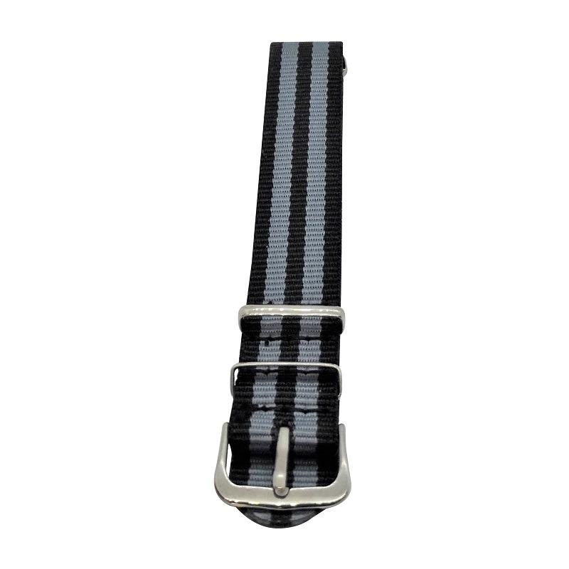Nylon Watchband Style #14 - Black and Grey