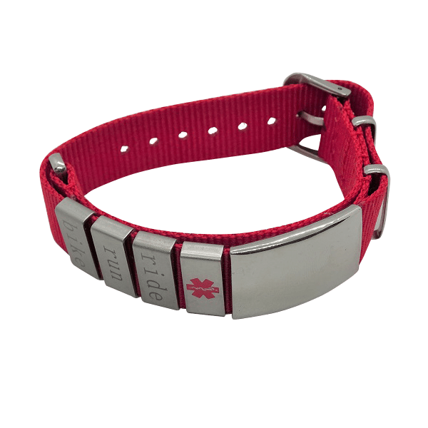 Nylon band with all sliders red