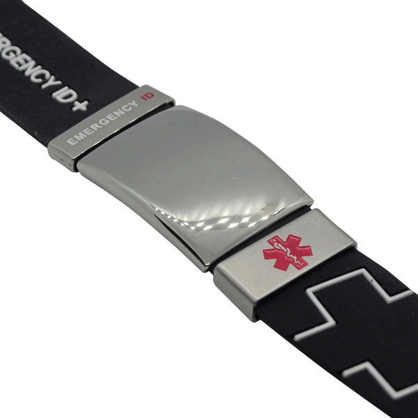engraved silicone wristband with all sliders black