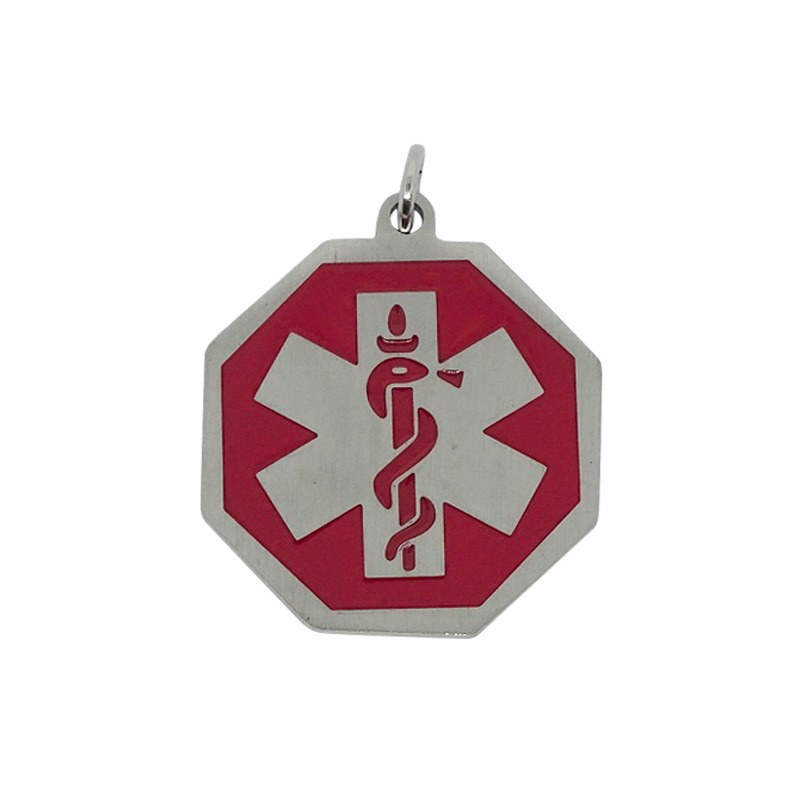 Octagon Red & Silver Necklace Pendant 2 Emergency ID medical alert necklace