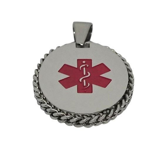 Large Oval Necklace Pendant Emergency ID medical alert