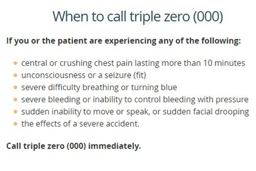 When to call triple zero 000