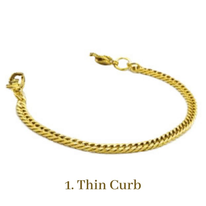1. Thin Curb Gold Bracelet Chain Emergency ID Australia