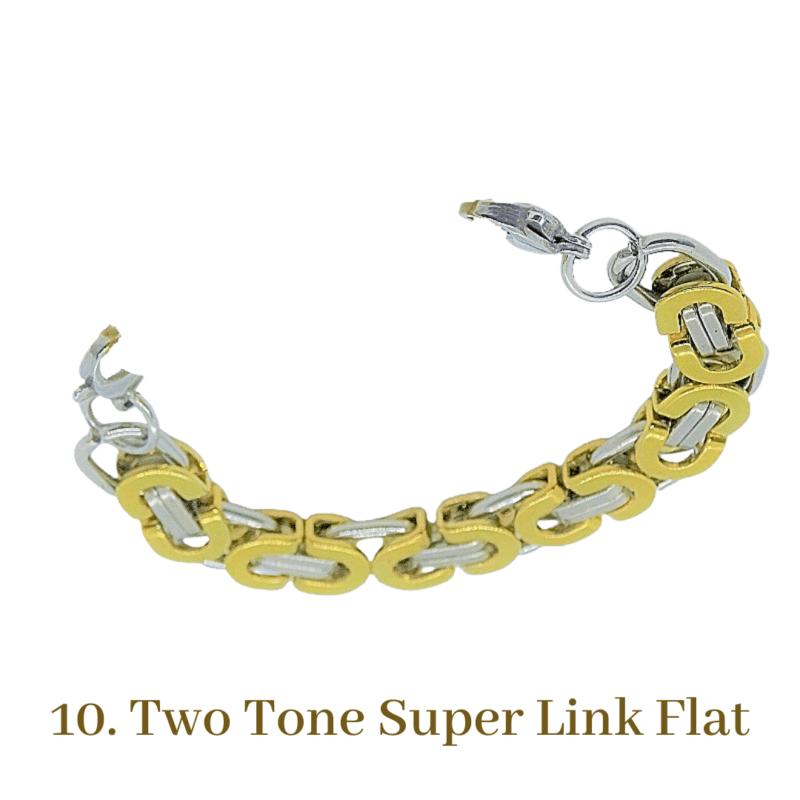10. Two Tone Super Link Flat Gold Bracelet Chain Emergency ID Australia