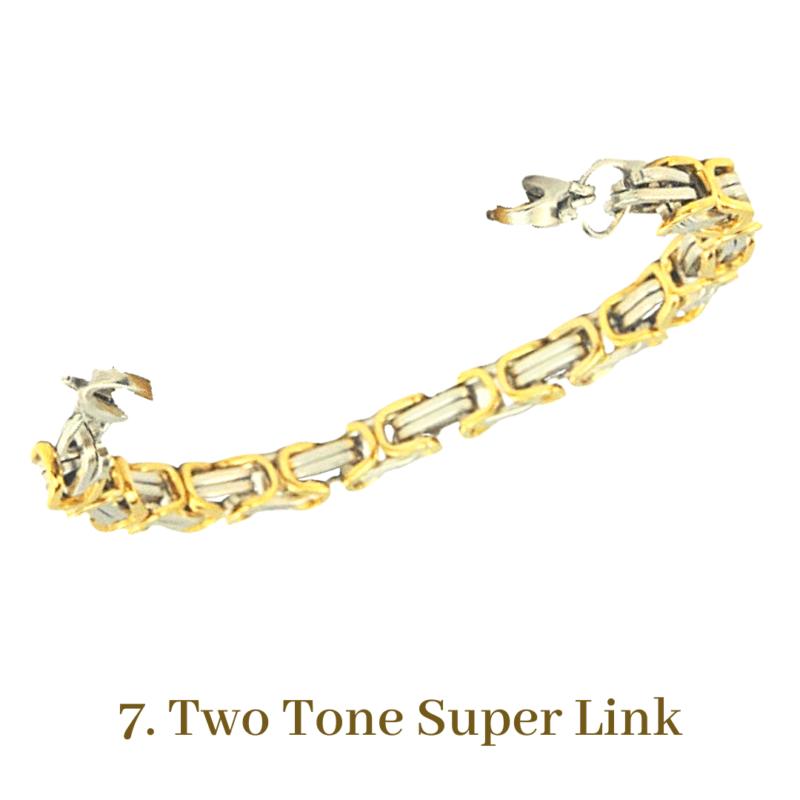 7. Two Tone Super Link Gold Bracelet Chain Emergency ID Australia