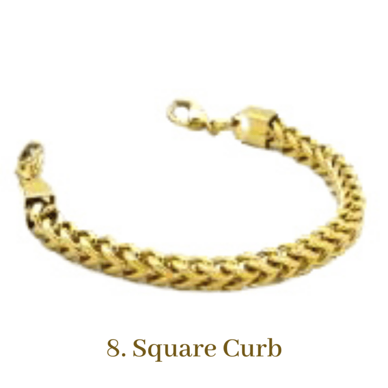 8. Square Curb Gold Bracelet Chain Emergency ID Australia